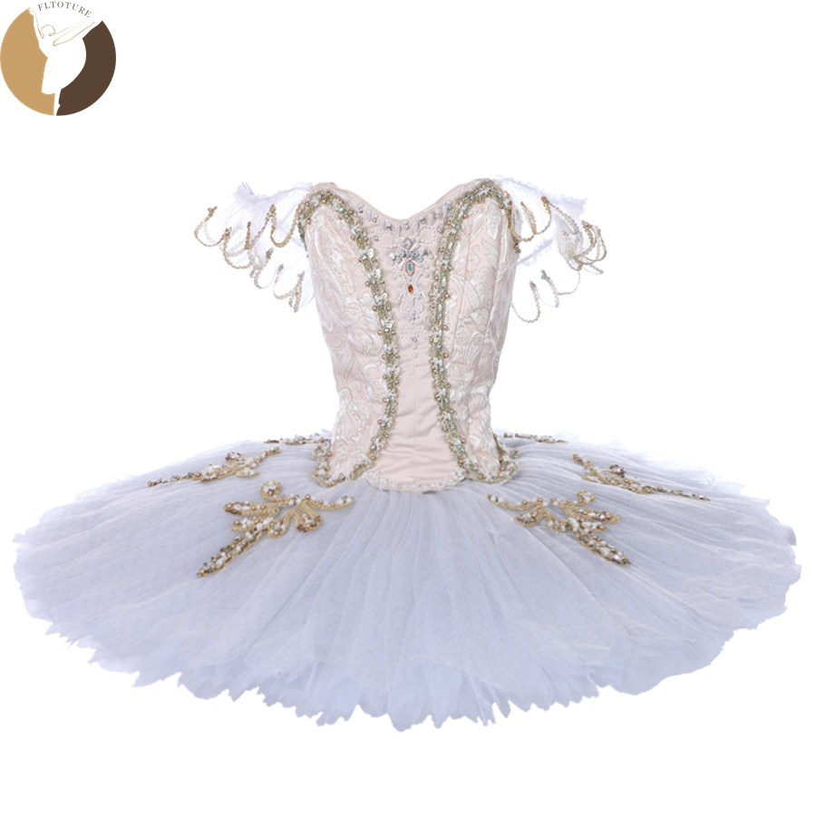 FLTOTURE Europe Ballet Tutu Women Classical Performance Stage Wear Sleeping Beauty Pancake Tutu Dresses YAGP Competition Costume