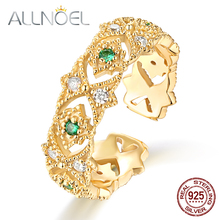ALLNOEL 925 Sterling Silver Ring Vintage Emerald White Zircon Real Gold-plated Openwork Vingtage Design Wedding Engagement Ring