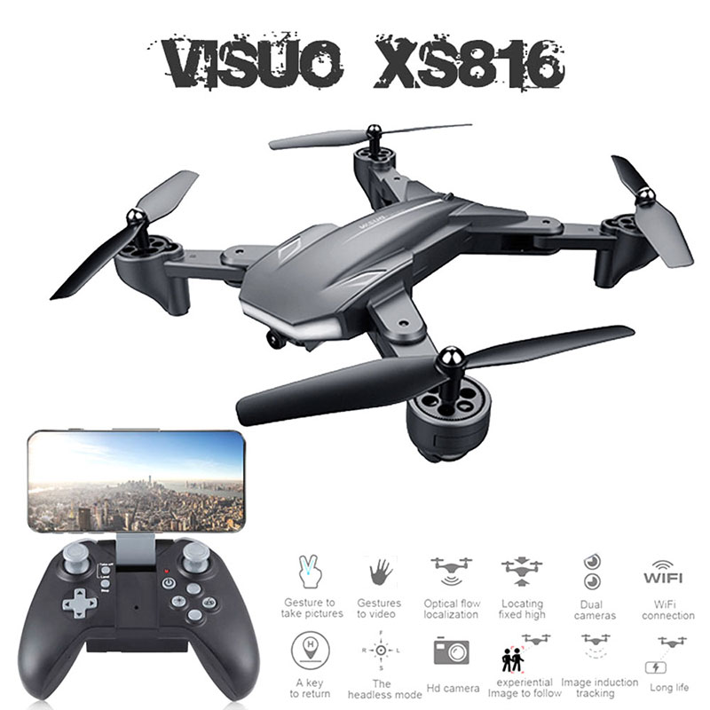 Visuo XS816 Drone WiFi FPV 720P Dual Camera Optical Flow RC Quadcopter Foldable drone camera hd Selfie Dron VS SG106 E58 Xmas