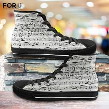 FORUDESIGNS Fashion Music Notes Shoes for Man Casual Classic Male Vulcanized