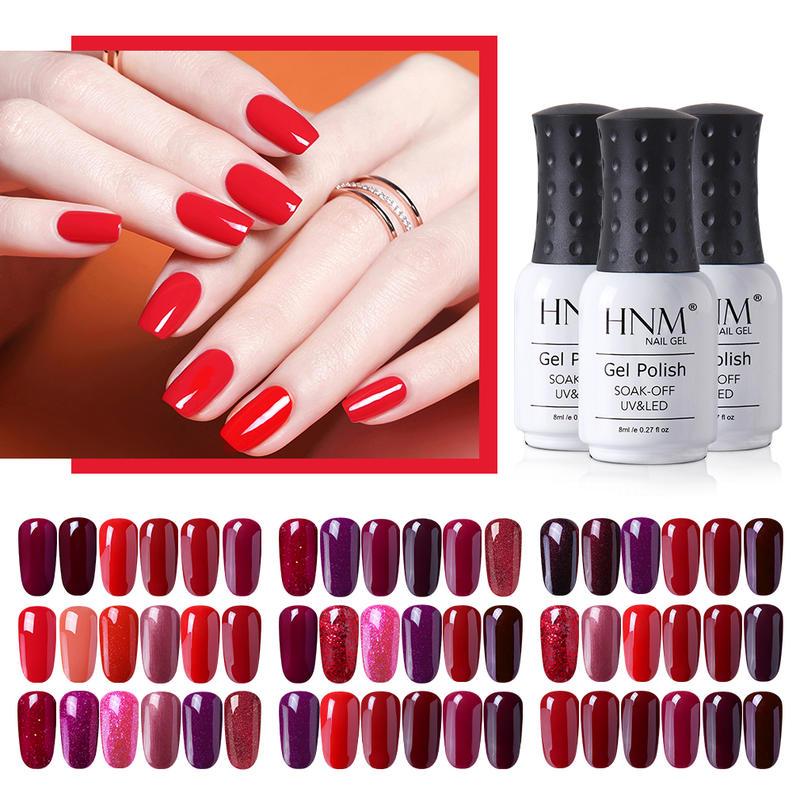 HNM 8ML 6Pcs Set Gel Nail Polish Red Color Series Soak Off Nail Varnish UV LED Semi Permanent Salon Manicure Cherries Red