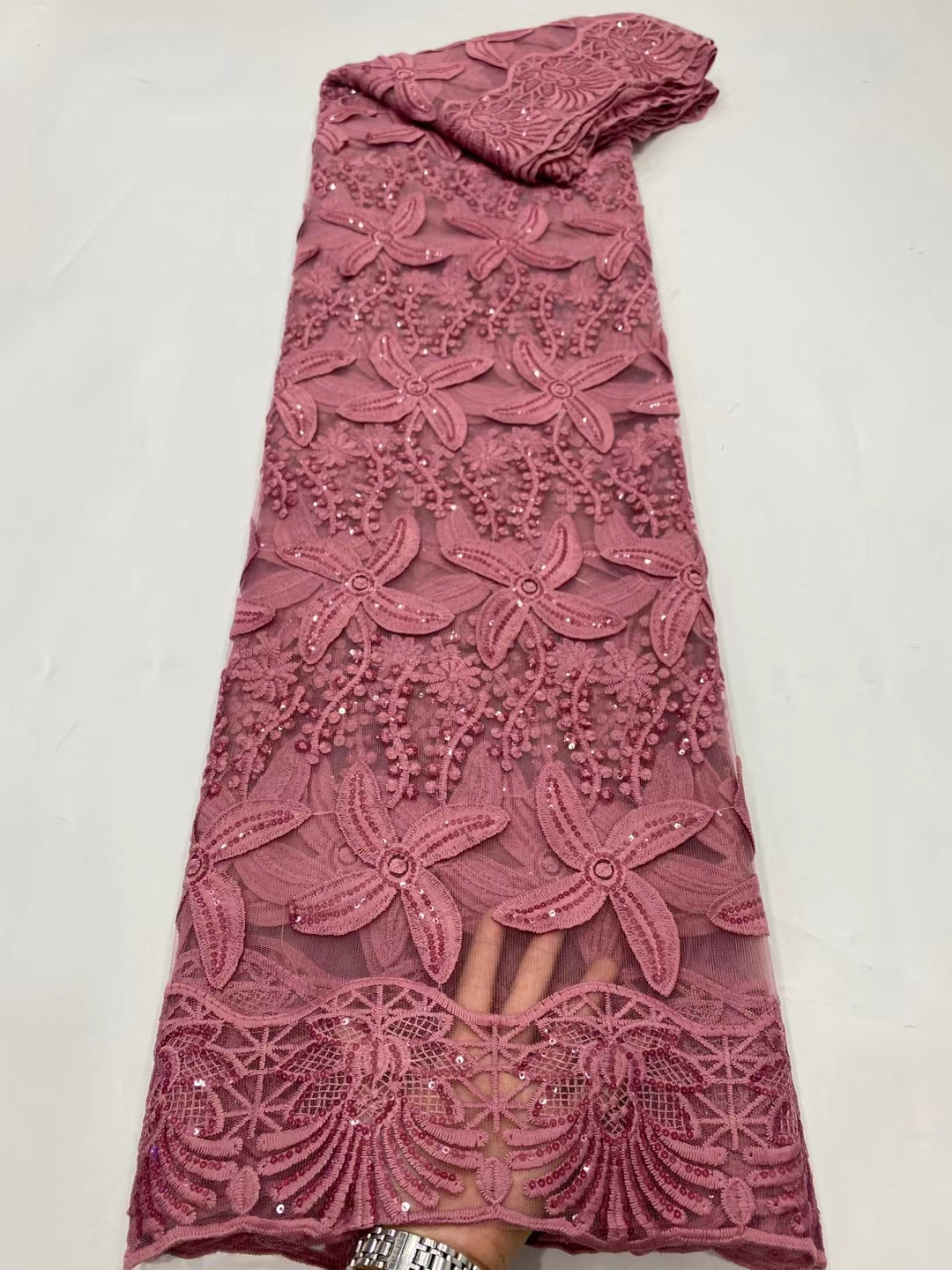 DPN13 Nice looking French lace fabric with sequins,wholesale embroidered African tulle lace for lady dress!