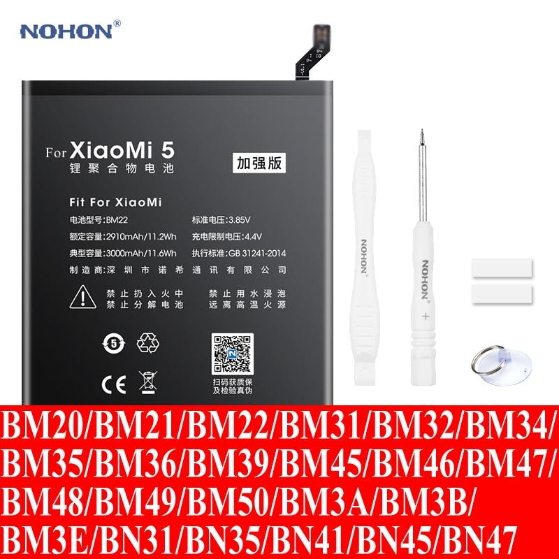 Nohon Battery For Xiaomi Mi 5 2 2s 4 6 8 BM22 Mi5 BM20 BM32 BM36 Mi6 BM39 BM21 BM35 BM45 BM47 BM48 BM49 BM50 BN31 BN35 BN41 BN45