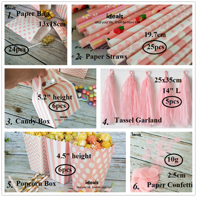 ideals DIY Baby Shower Pink Girl Decor Party Supplies Tabletop Gift Favor Bags,Candy Box, Paper Straws, Tassel Garland, Confetti