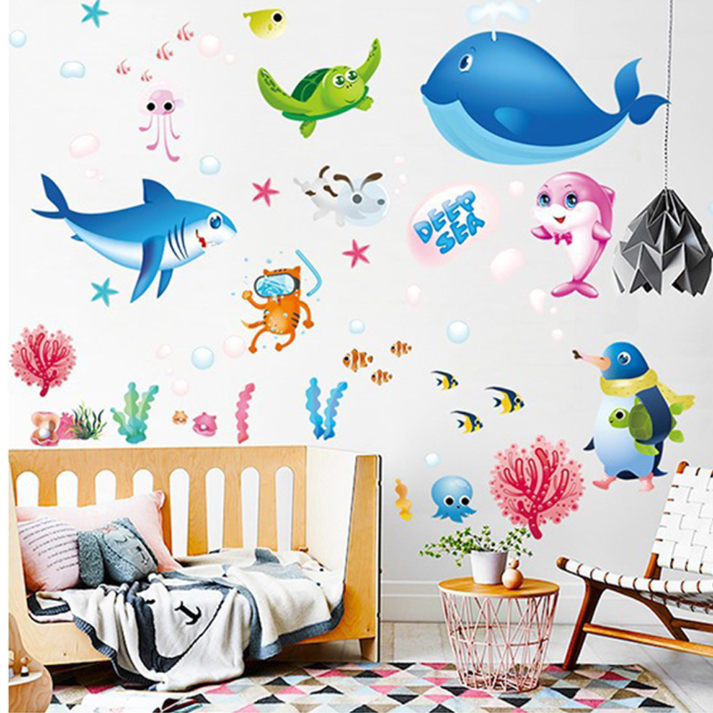 Sea World Sticker Colorful Fish Animals Wall Art DIY Window Mural Bathroom Decor