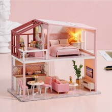 Miniature DIY Doll House With Wooden House Furniture Toys For Children New Year Gift Children's Toy