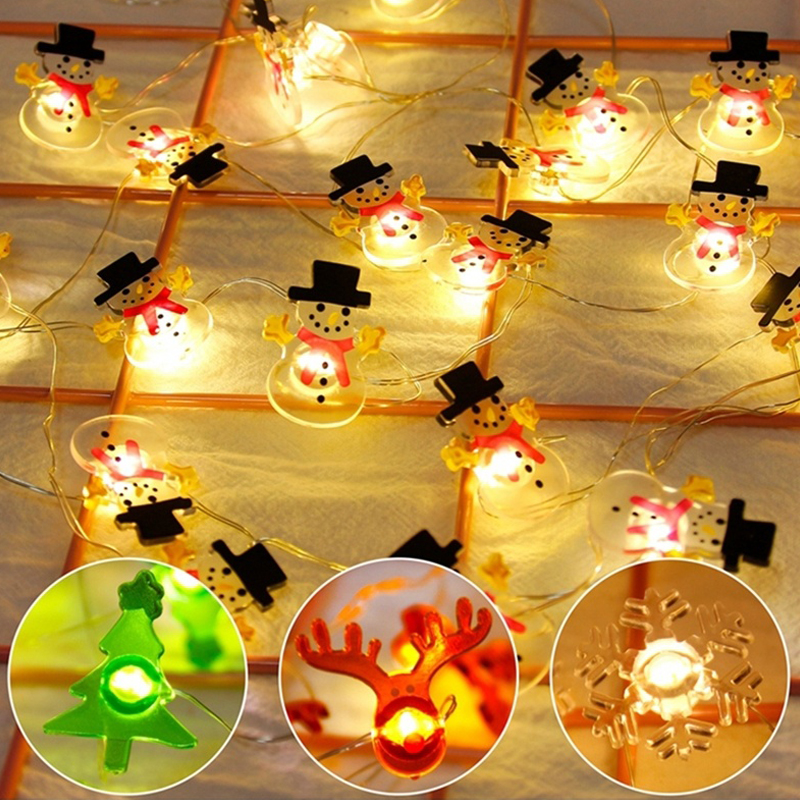 Christmas String Fairy Light String Snowman String Durable Romantic Super Bright Snowflake 20LED Battery Box Xmas Decor Outdoor