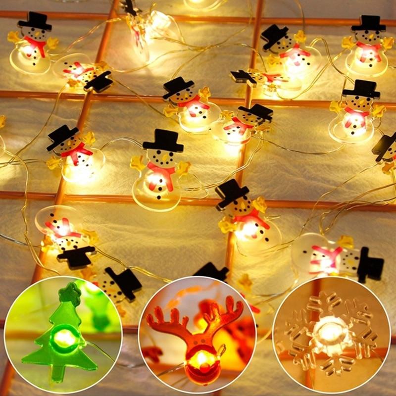 Christmas String Fairy Light String Snowman String Durable Romantic Super Bright Snowflake 20LED Battery Box Xmas Decor Outdoor
