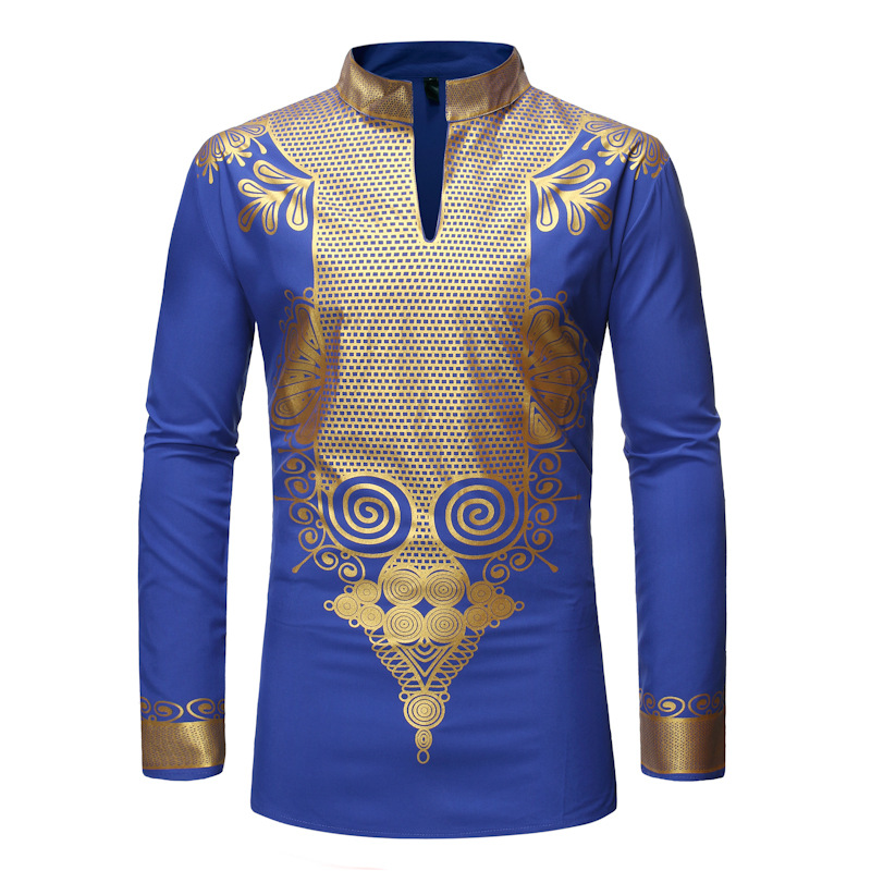 Royal Blue African Dashiki Print Shirt Men 2020 Brand Hip Hop Streetwear African Clothes Men Slim Fit Long Sleeve Chemise Homme