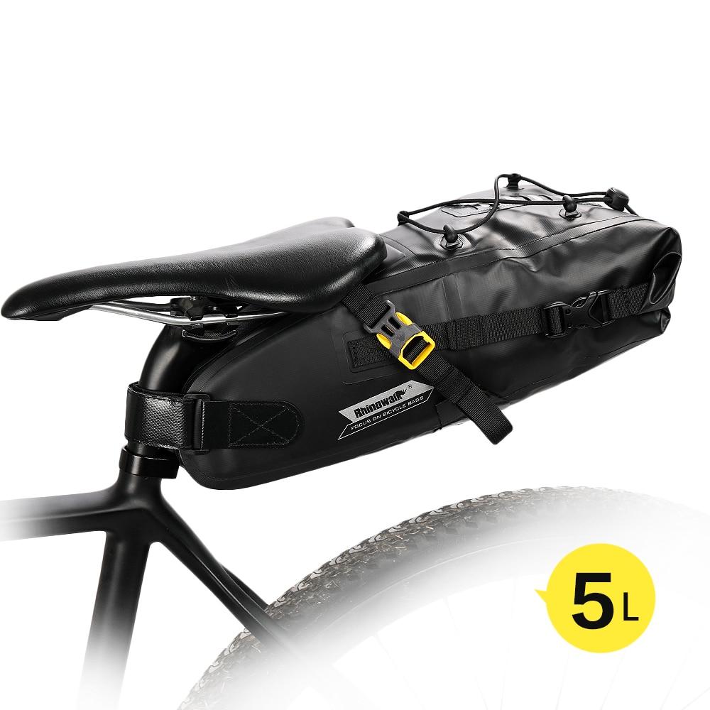 Rhinowalk 5L Bike Waterproof Bicycle Saddle Bag Reflective Large Capacity Foldable Tail Rear Bag Cycling MTB Trunk Pannier