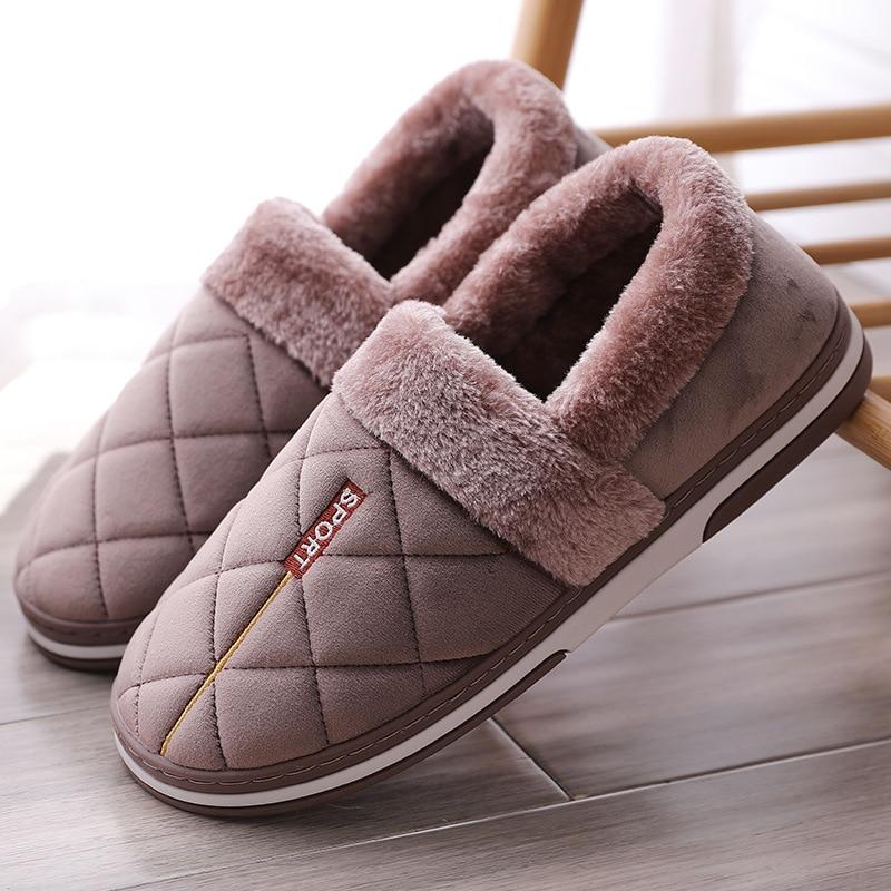Winter Slippers For Men Gingham Short Plush Suede Velvet House Shoes Men Soft Keep Warm Non Slip Fashion Male Slippers Fur