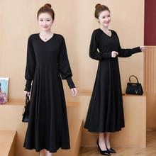 4XL 5XL 2019 Casual Large size Women Long Dress Autumn V Neck Loose Black Office Plus Female Sleeve Work Dresses