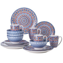 VANCASSO 16/32/48-Piece Bohemian Mandala Patterned Turquoise Porcelain Tableware Set with Dinner Plate,Dessert Plate,Bowl,Mug