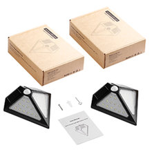 2 pcs 24LED Solar Powered Energy-saving Waterproof Solar Security Triangle Wall Lamp with Motion Sensor for Outdoor