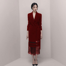 Red 2019 Autumn fashuion women Long Sleeve Temperament hip dress Lace Stitching Blazer vestido suit jacket Office LAdy Dress(China)