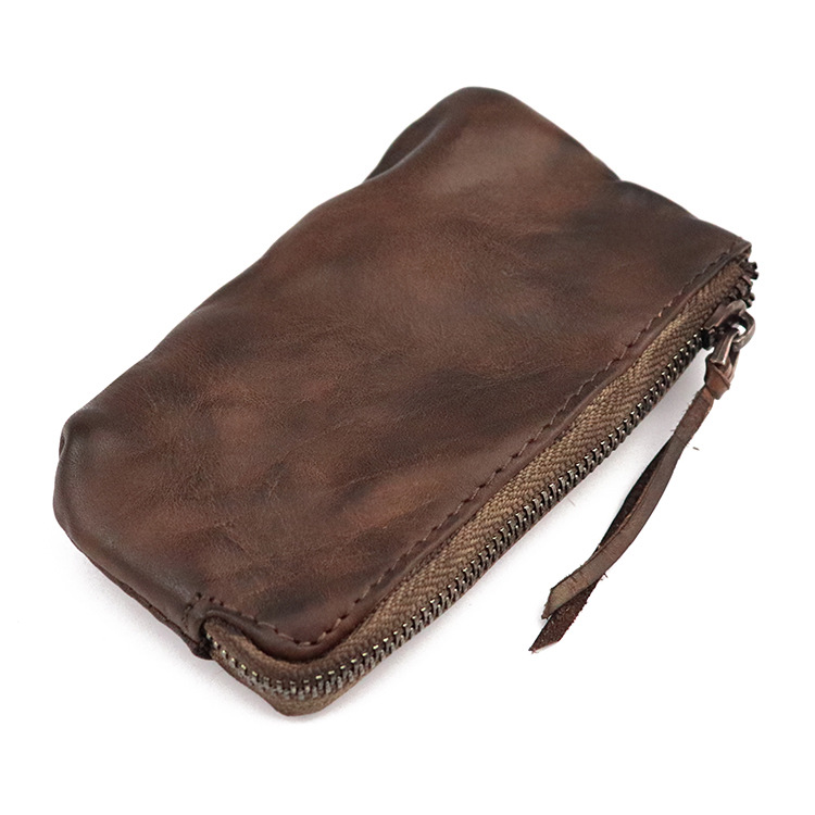 Vintage Genuine Leather Slim Wallets Men Coin Purses Zipper Short Wallet Women Purse key Holder Small Men Mini Wallet