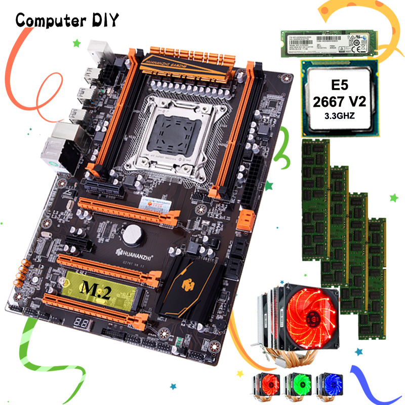 HUANANZHI Deluxe X79 Motherboard With 256G SSD Motherboard Bundle DIY Xeon CPU E5 2667 V2 With Cooler RAM 32G(4*8G) 1866 RECC