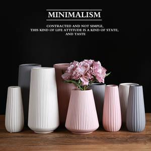 Mediterranean ceramic vase northern Europe modern simple white powder grey ornament flower arranging device home frosting