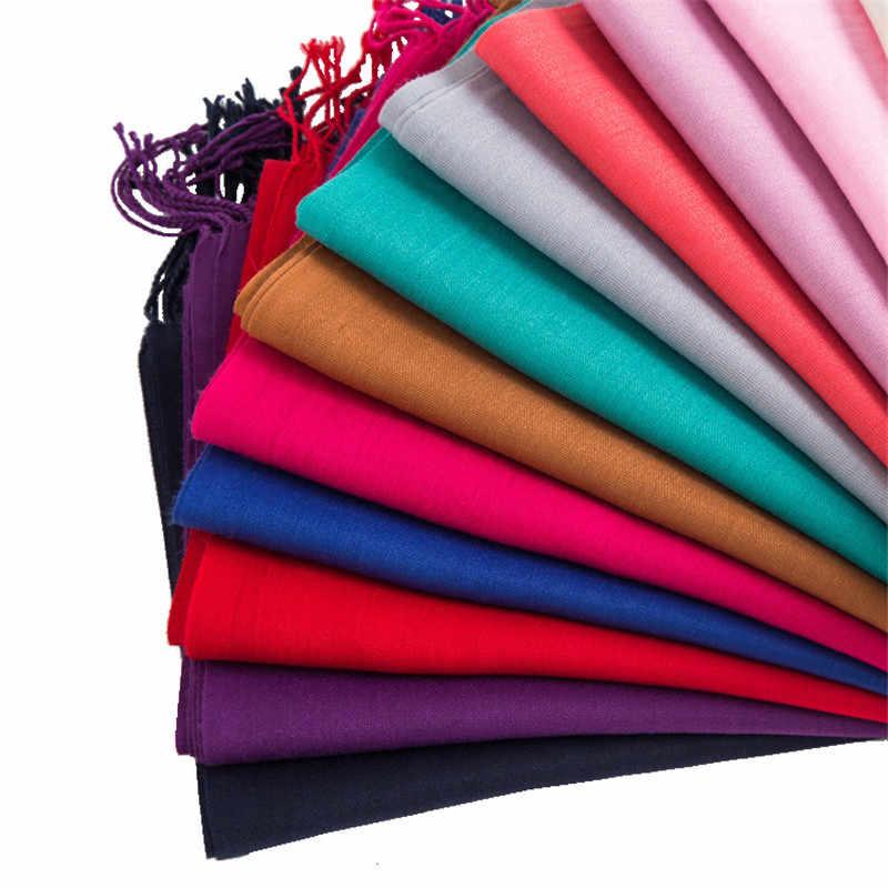 봄 얇은 여성의 단단한 스카프 Lic 여성 Hijab 스카프 겨울 판쵸 스톨 술의 목도리 블루 레드 블랙 핑크 숙녀 스카프