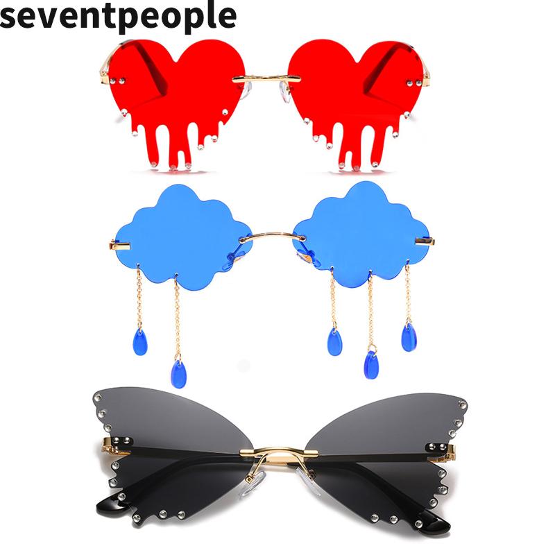 Fashion Butterfly Rimless Sunglasses Women 2020 Luxury Brand Designer Cloud Tassel Steampunk Sun Glasses Unique Big Heart óculos