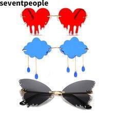 패션 나비 무테 선글래스 여성 2020 럭셔리 브랜드 디자이너 클라우드 술 Steampunk Sun Glasses Unique Big Heart óculos