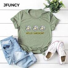 JFUNCY – t-shirt manches courtes femme, estival et décontracté, en coton, avec motifs de tournesol, Hello Sunshine, grande taille