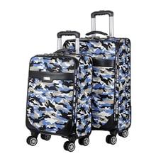 Модные камуфляжные дорожные сумки на колесиках для мужчин, деловые чемоданы на колесиках, дорожные сумки из ткани Оксфорд, 20/24 дюйма