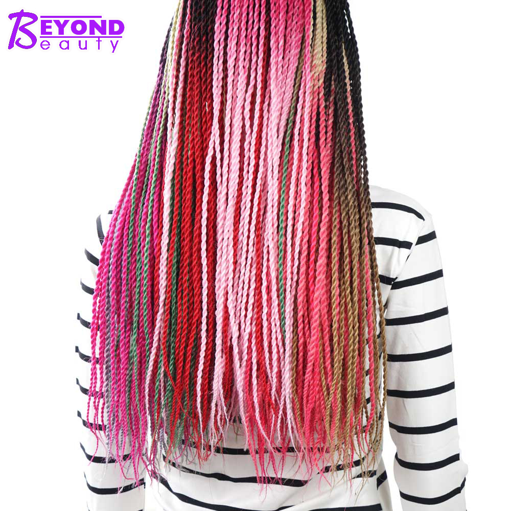 26 Color Ombre Senegalese Twist Crochet Hair Extension 24 Inch Crochet Braids Synthetic Braiding Hair For African Woman Bulk