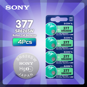 4PCS/lot For Sony Original 1.55V AG4 377A 377 LR626 SR626SW SR66 LR66 button cell Watch Coin Battery Silver Oxide MADE IN JAPAN