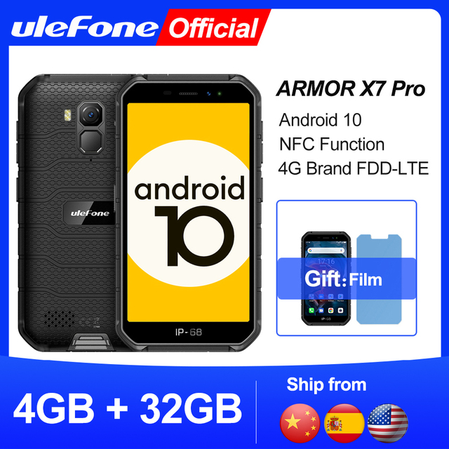 Ulefone Armor X7 Pro Android10 Rugged Phone 4GB RAM Smartphone Waterproof Mobile Phone Cell Phone ip68 NFC 4G LTE  2.4G/5G WLAN 1