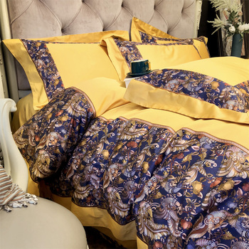 New luxury Digital Printing 100S Egyptian cotton Yellow Royal Bedding sets Queen King Duvet cover Bed sheet set Pillowcases 4pc