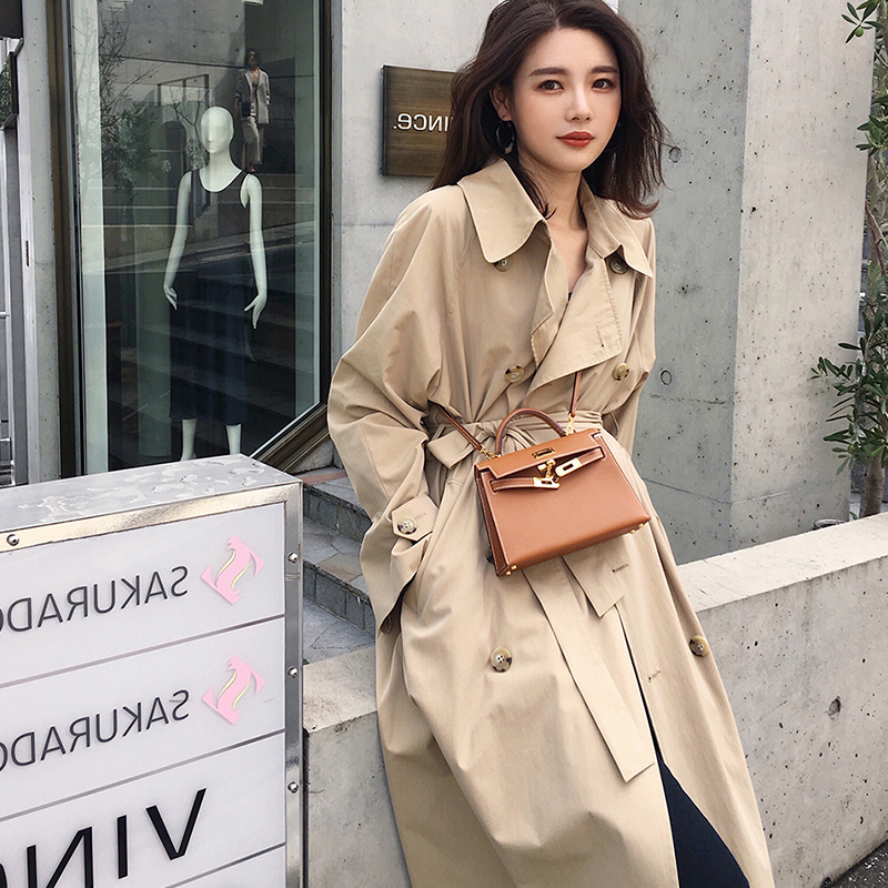 Ailegogo New Autumn Women Loose Long   Trench   Coat Casual OL Style Double Breasted Belt Khaki Outwear Fashion Windproof Tops