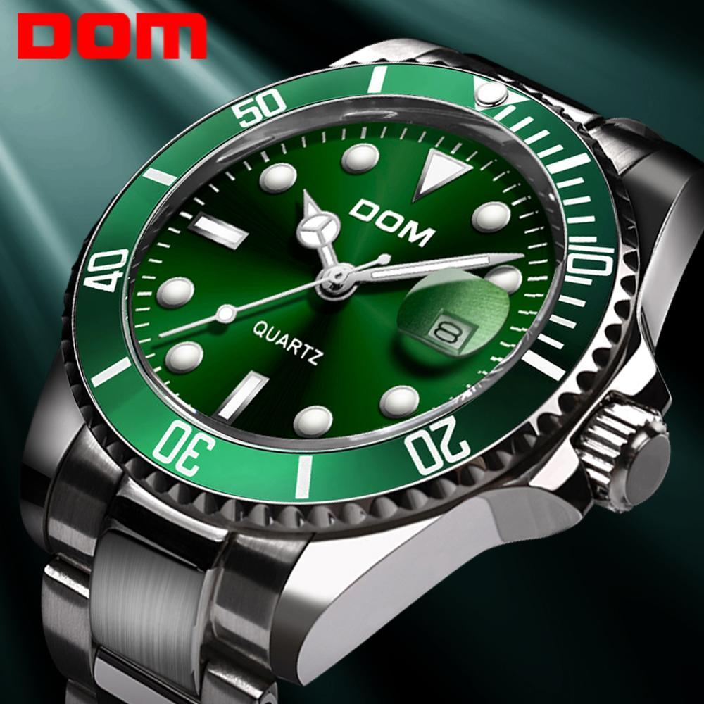 DOM Business Watches Steel Top-Brand Green Luxury Man Clock Casual Fashion M-1263 Men