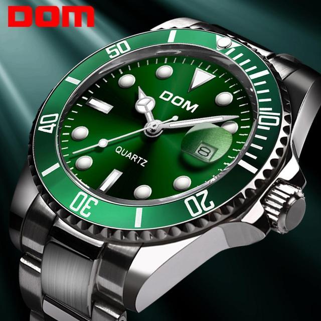 DOM Casual Business Watches Men Green Top Brand Luxury Solid Steel Wrist Watch Man Clock Fashion Waterproof Wristwatch M 1263