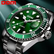 Часы DOM мужские деловые, брендовые Роскошные однотонные модные водонепроницаемые, стальные, зеленые