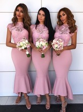 Vestido Para Festa 2019 Wedding Dress Bridesmaid Pink Guest Party Elegant Lace Ruffles Mermaid Gowns