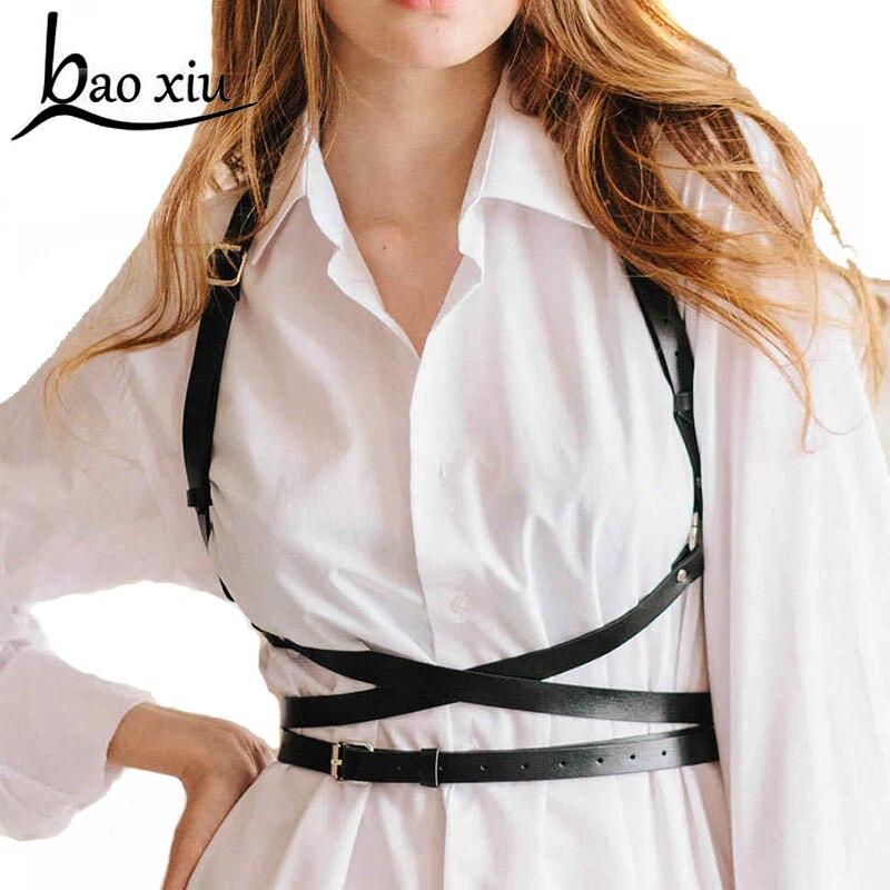 2020 Trendy New Personality Shoulders Body Bondage Belt Faux Leather Causal Corset Female Harness Waist Straps Suspenders Belt