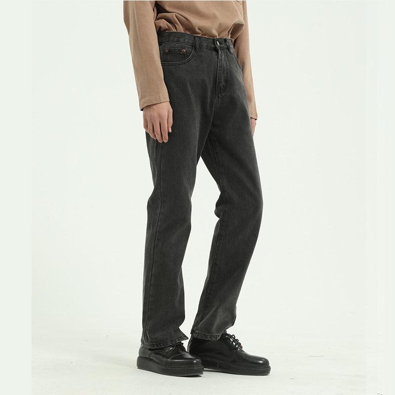 Male Streetwear Hip Hop Loose Denim Trousers Men Vintage Blue Gray Casual Classic Straight Jeans Pants  Japan Korea Style Pant