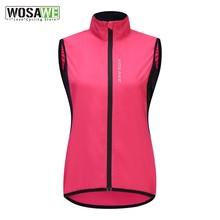 WOSAWE Frauen Winddicht Radfahren Weste Sleeveless Reflektierende MTB Bike Jacke Outdoor Sport Lauf Reiten Quick-Dry Radfahren Jacke