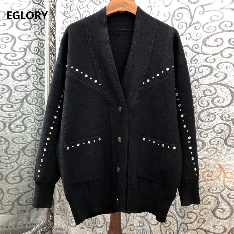 2019 Autumn Fashion Knitted Cardigans Women V Neck Geometric Patterns Embroidery Long Sleeve Casual Sweater Cardigan Outwear