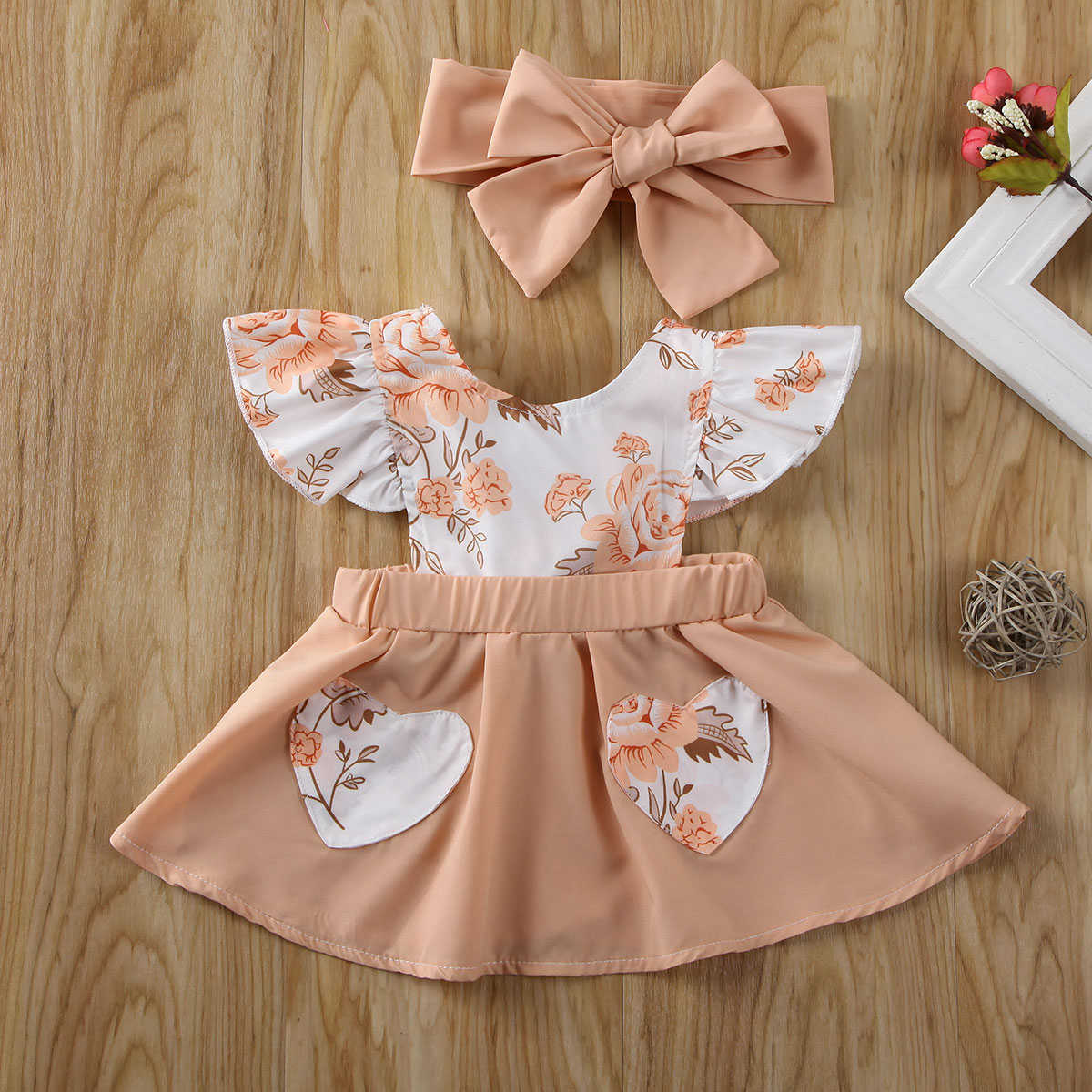 Pudcoco Newborn Baby Girl Clothes Flower Print Sleeveless Patchwork Dress Headband 2Pcs Outfits Sunsuit Clothes