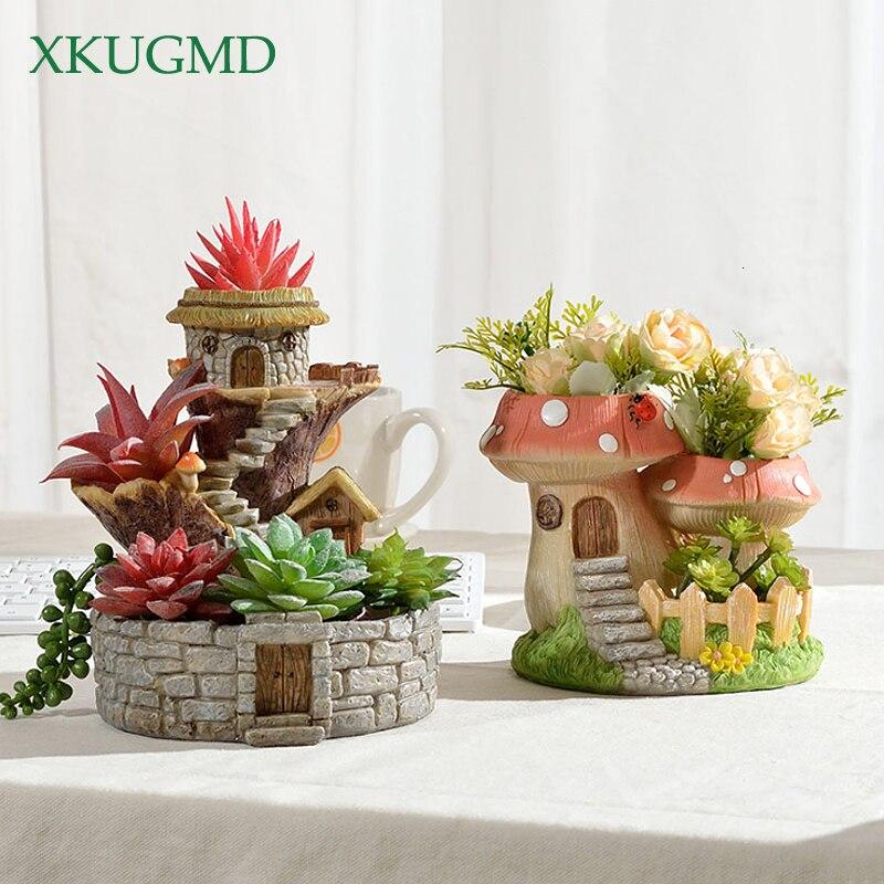 Mushroom Resin Flower Pot Tree House Sculpture Decoration Desktop Flower Arrangement Container Garden Micro Landscape Potted