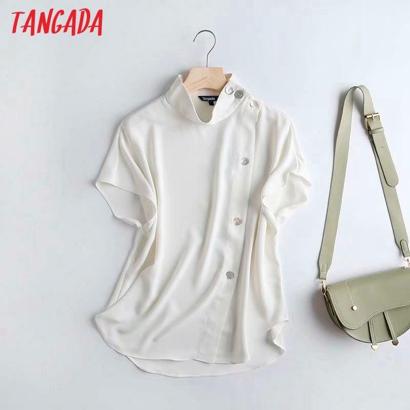 Tangada women white shirts stand collar buttons short sleeve elegant office ladies work wear blouses 4C34