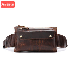 Aimeison Genuine Leather Waist Packs Fanny Pack Belt Bag Phone Pouch Bags Travel Waist Pack Male Small Waist Bag Leather Pouch