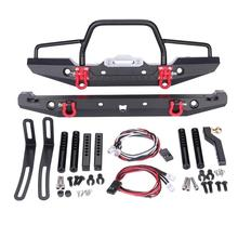 1/10 RC Rock Crawler Metal Front Bumper with Led Light for Axial SCX10 9004 High Quality Parts Accessories