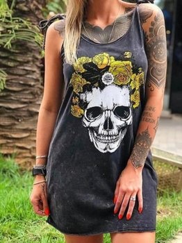 Casual Punk Loose Short Sleeve Skull Print Dress 5