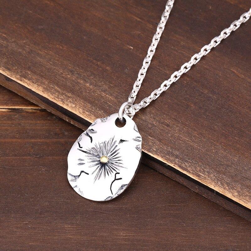 S925 pendentif en argent sterling bijoux personnalité rétro style indien plume volante aigle couple étiquette forme pour envoyer le cadeau de l'amant - 2