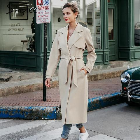 Simplee Wool blend winter tweed coat women Long sleeve elegant sash belt female outwear coat Autumn winter streetwear coat Karachi