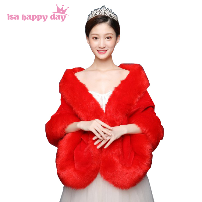 Ivory Red 2020 Big Wedding Bolero Jacket Winter Wedding Wrap Warm Faux Fur Stoles Bridal Coat Accessories Wedding Cape Coat