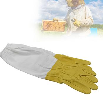 Rękawice pszczelarskie rękawy ochronne wentylowana skóra owcza i tkanina anty pszczoła do narzędzi pszczelarskich tanie i dobre opinie beetop CN (pochodzenie) BG02 Beekeeping Gloves Beekeeping Gloves Protective Sleeves Approx 110g beekeeping tool Yellow and White
